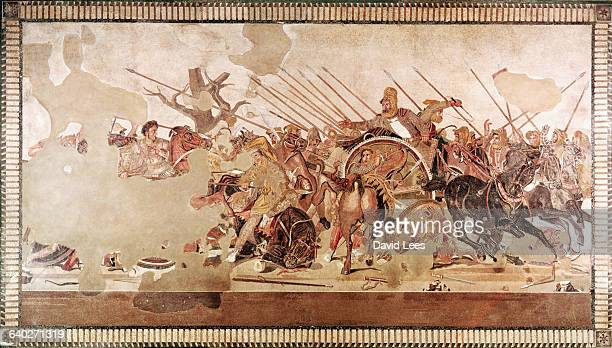 A mosaic from Naples Italy It depicts a battle between Alexander the Great and Darius III king of Persia