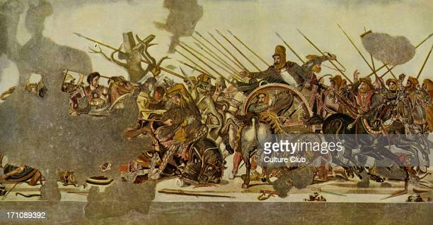 Mosaic from Pompeii The Slaughter at Issos the first pitched battle between Alexander the Great of Macedon and Darius III of Persia in the year 333...