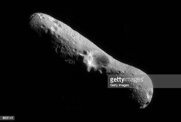 A mosaic image of asteroid Eros at it's north pole taken by the robotic NEAR Shoemaker space probe February 14 2000 immediately after the...