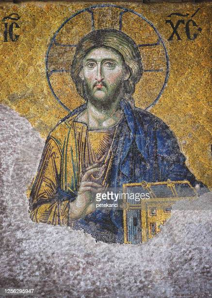 mosaic image of jesus christ - byzantine stock pictures, royalty-free photos & images