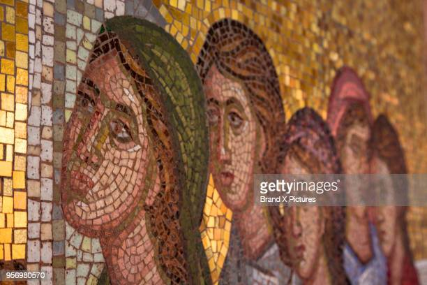 mosaic in kykkos monastery in cyprus - byzantine stock photos and pictures