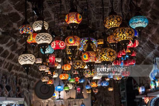 mosaic lamps, on the montenegro's medieval market city of kotor, travel, montenegro - montenegro photos et images de collection