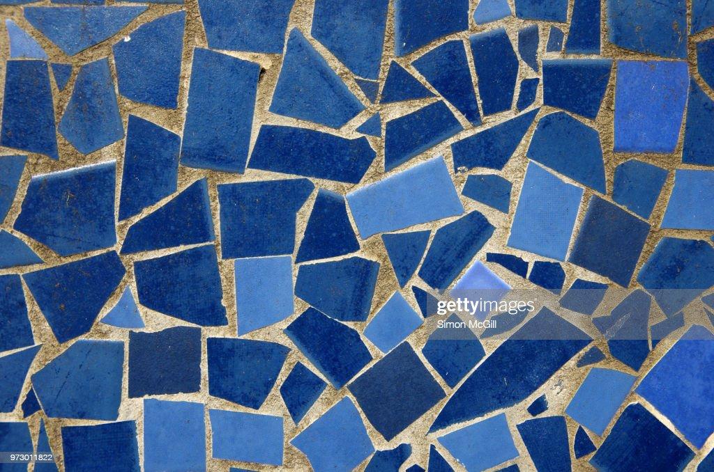Mosaic made from broken blue ceramic tiles : Stock Photo