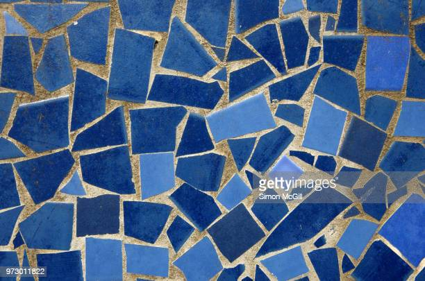 mosaic made from broken blue ceramic tiles - mosaic stock pictures, royalty-free photos & images