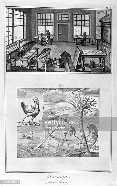 Mosaic makers 17511777 A print from the Encyclopédie ou Dictionnaire Raisonné des Sciences des Arts et des Métiers by Diderot d'Alembert 17511777...