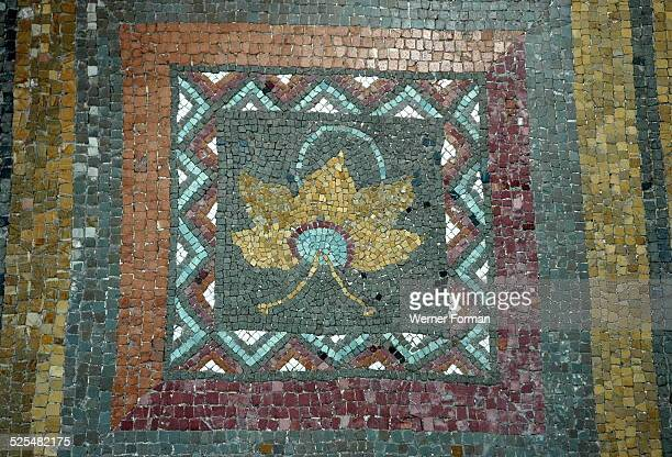 Mosaic of a golden vine leaf Rome