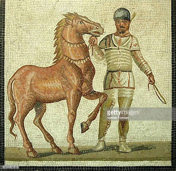 Mosaic of a roman charioteer and horse of the White Team of the Circus Maximus, 3rd Century AD. Villa at Baccano, Rome.