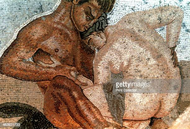 Mosaic of a satyr and nymph House of Faun Pompeii Italy