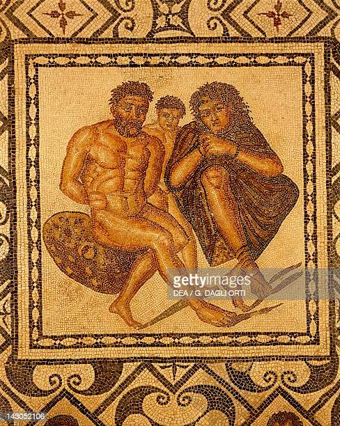 Mosaic of Berbers in chains from the Judicial Basilica or the Great Basilica Tipasa Algeria Roman Civilization 4th Century Tipasa Musée De Tipasa