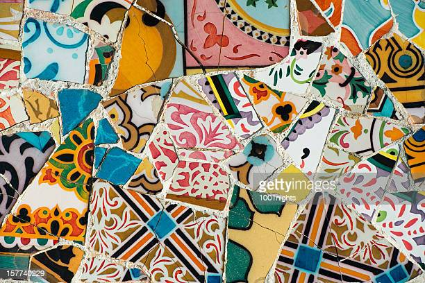 mosaic of broken tiles - spain stock pictures, royalty-free photos & images