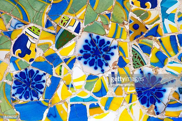 mosaic of broken tiles - antonio gaudi stock pictures, royalty-free photos & images