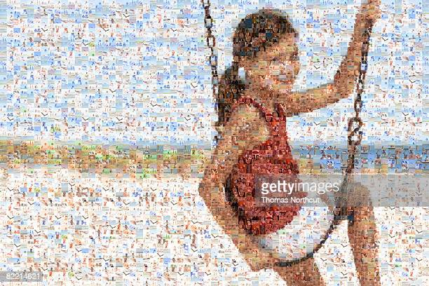 mosaic of child near beach - images stock pictures, royalty-free photos & images
