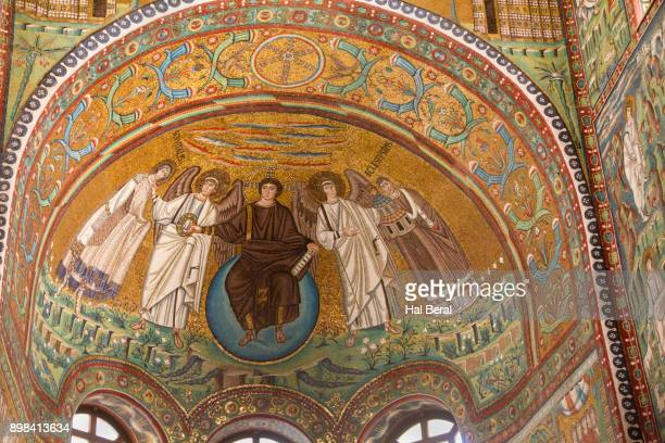Mosaic of Christ astride the world