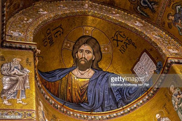 mosaic of christ pantocrator in the apse of monreale cathedral, sicily, italy - nave stock pictures, royalty-free photos & images