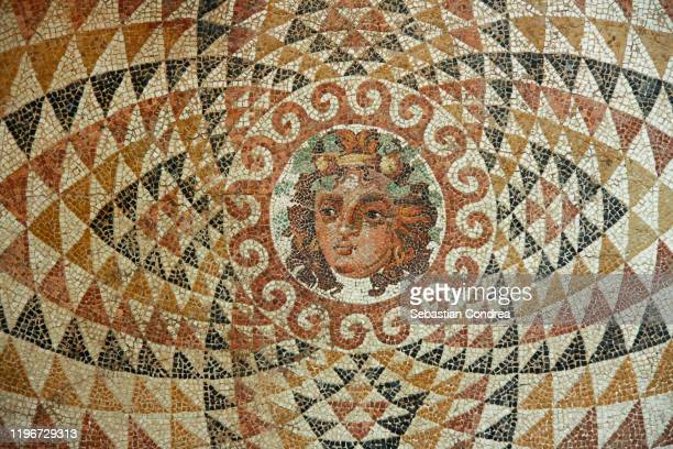 mosaic of dionysos, from the ruins of corinth, greece. - ancient greece stock pictures, royalty-free photos & images
