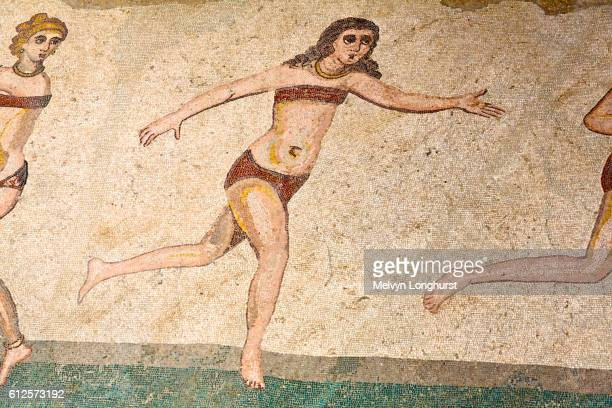 mosaic of female gymnasts in bikinis, hall of female gymnasts, villa romana del casale, piazza armer - archaeology stock pictures, royalty-free photos & images