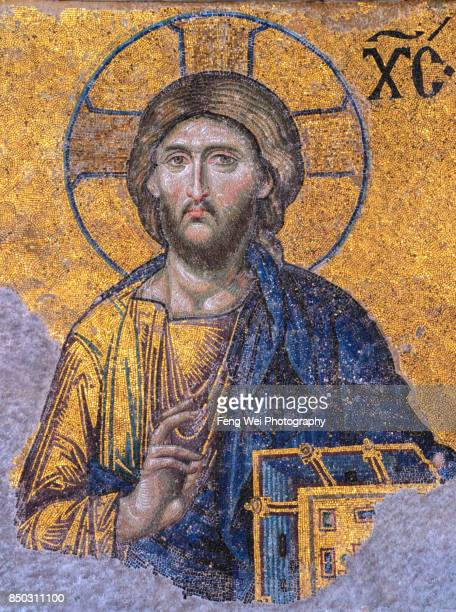 mosaic of jesus christ, hagia sophia, istanbul, turkey - byzantine stock photos and pictures
