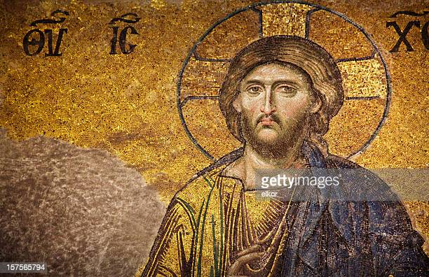 mosaic of jesus christ, istanbul - byzantine stock photos and pictures