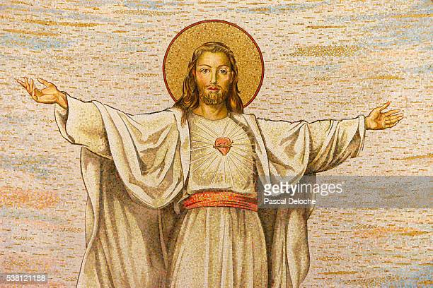 mosaic of jesus christ - jesus christ photos et images de collection