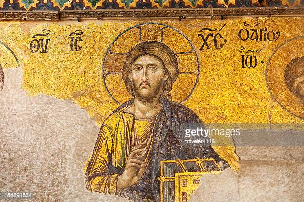 mosaic of jesus from the aya sofya - byzantine stock photos and pictures