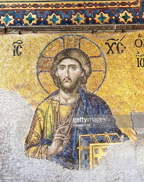 mosaik von jesus vom aya sofya - hagia sophia stock-fotos und bilder