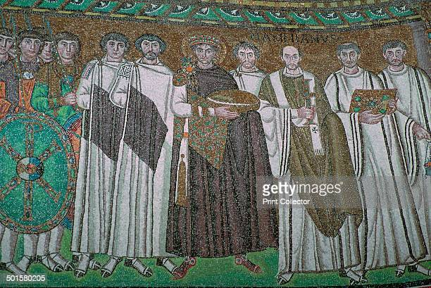 Mosaic of Justinian I and his court in San Vitale 6th century