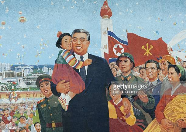 Mosaic of Kim Il Sung in Pyongyang North Korea on May 19 2009