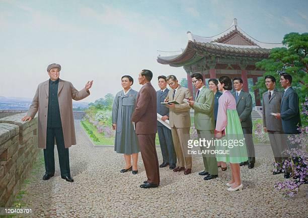 Mosaic of Kim Il Sung in Pyongyang, North Korea on May 22, 2009.
