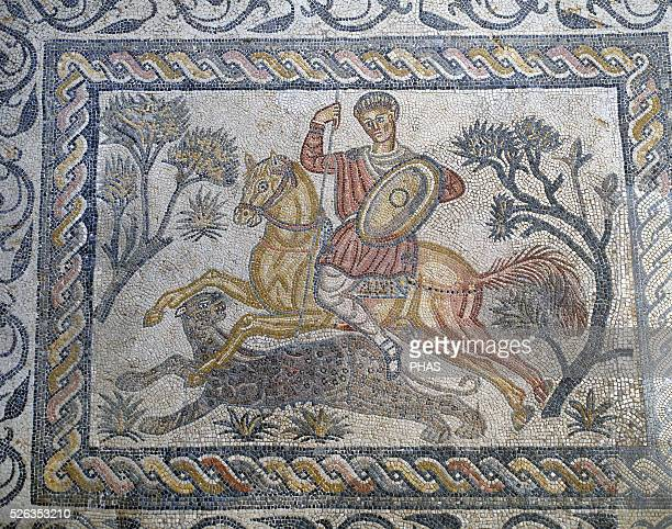 Mosaic of panther hunt from Roman Villa of Las Tiendas in Merida Spain Roman Civilization 4th century National Museum of Roman Art Merida Spain
