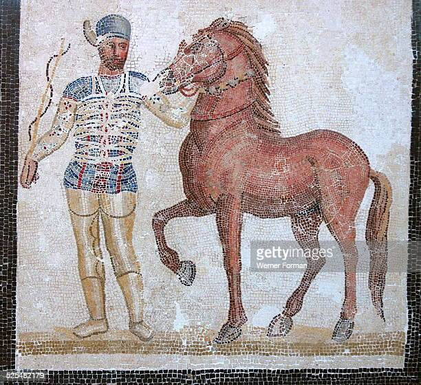 Mosaic of roman charioteer and horse of the Blue Team of the Circus Maximus, 3rd Century AD. Villa at Baccano, Rome.