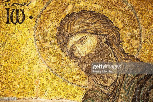 mosaic of saint john the baptist - john the baptist stock photos and pictures