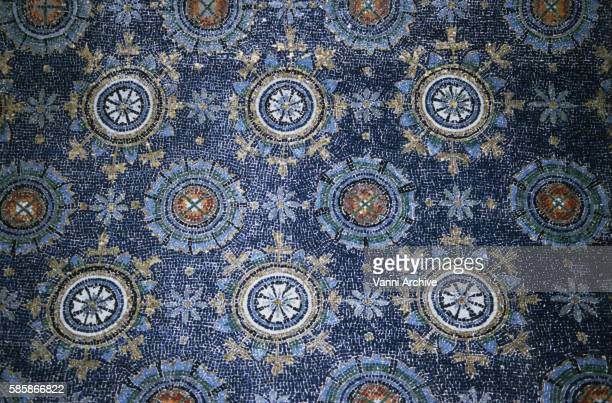 Mosaic of Sky and Stars on Barrel Vault of the Mausoleum of Galla Placidia in Ravenna