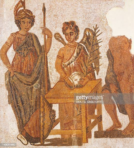 Mosaic of the Attic Legend depicting Winged Victory collecting the votes in the ballot on the left Athena Roman Civilization 3rd Century Sousse Musée...