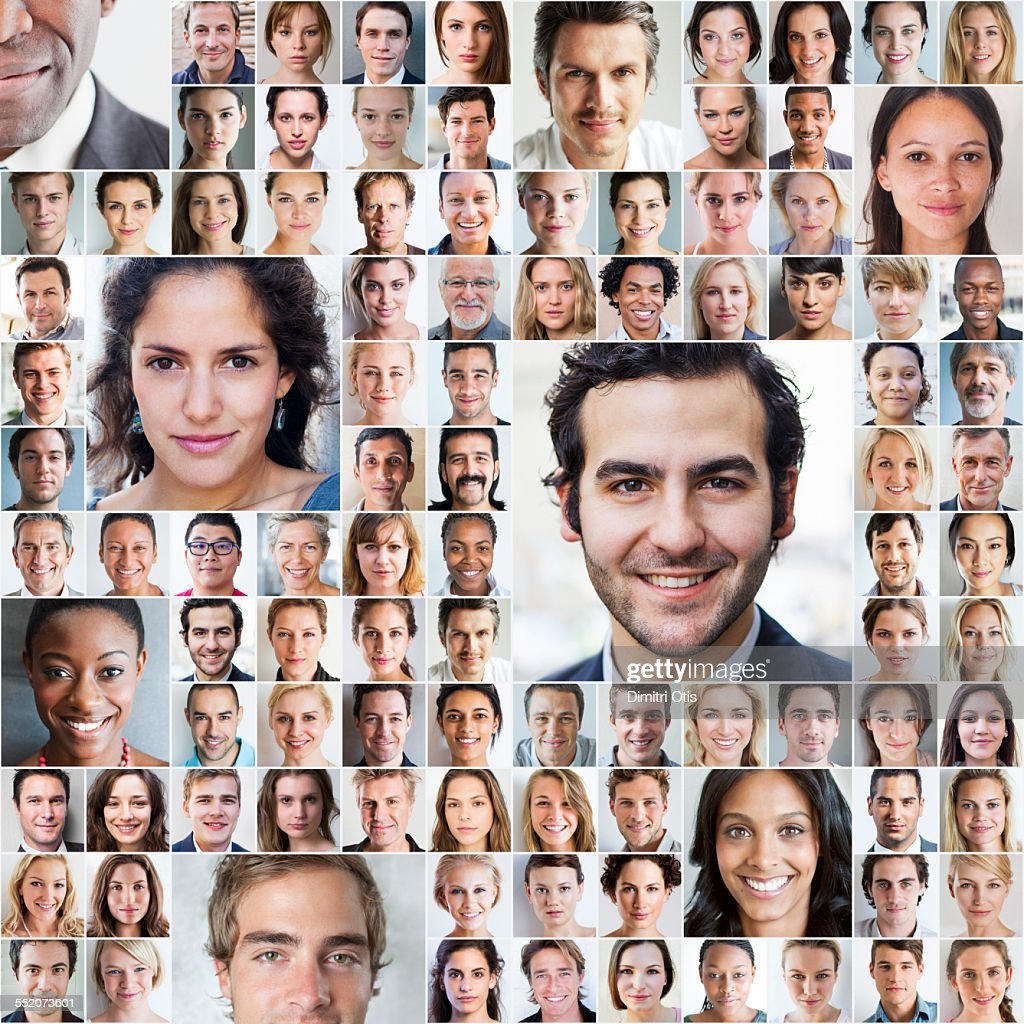 Mosaic of various size portraits : Stock-Foto