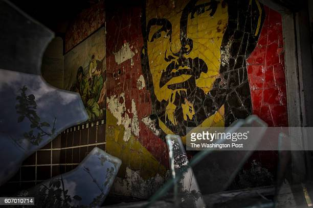 Mosaic of Vladimir Lenin seen on the wall of the ruin of the army club on a territory of exSoviet secret army compound 'Skrunda1' which now is a...