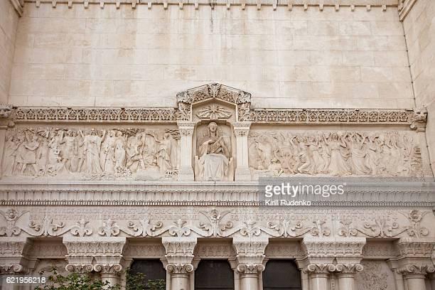 Mosaic on the facade of The Basilica of Notre-Dame de Fourvière in Lyon, France