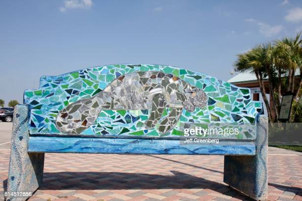 A mosaic park bench at the Manatee Observation and Education Center