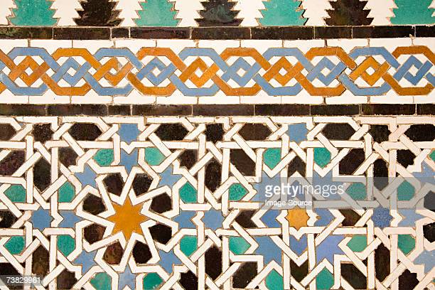 mosaic pattern - alhambra spain stock photos and pictures