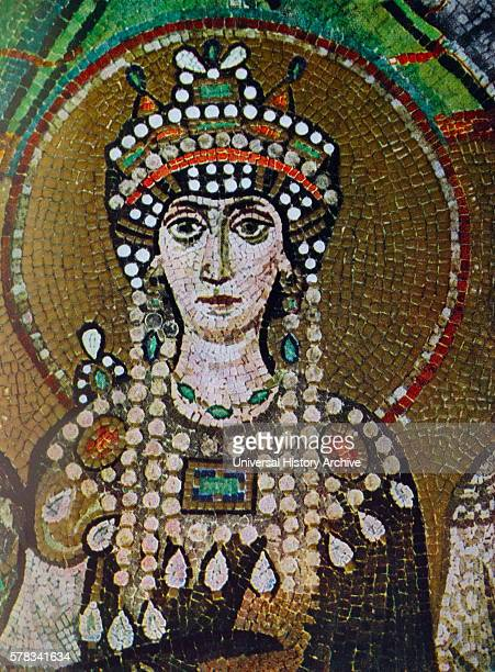 Mosaic portrait of Theodora Empress of the Byzantine Empire and Justinian I 's consort Dated 6th Century