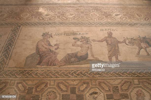 Mosaic representing Bacchus sitting House of Dyonisos Pafos Cyprus Island Greece Europe