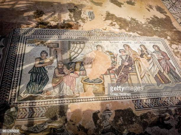 mosaic ruins in paphos cyprus - greek god stock pictures, royalty-free photos & images