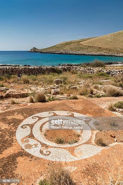 Mosaic,  Sanctuary of Poseidon, Mani Peninsula