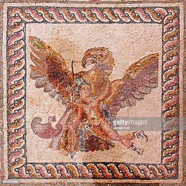 Mosaic The Rape of Ganymede It represents the moment in which Zeus in the form of an eagle carries away young Ganymede House of Dionysos Room 8...