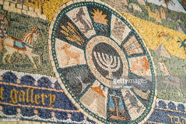 mosaic tile of hanukkah candlestick - hanukkah stock pictures, royalty-free photos & images