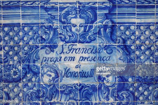 mosaic tiles of the exterior wall of church of san ildefonso, porto, portugal - traditionally portuguese stock pictures, royalty-free photos & images
