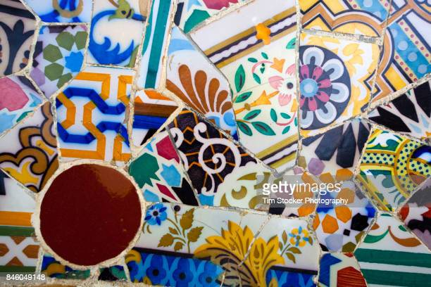 mosaic tiles - antonio gaudi stock pictures, royalty-free photos & images