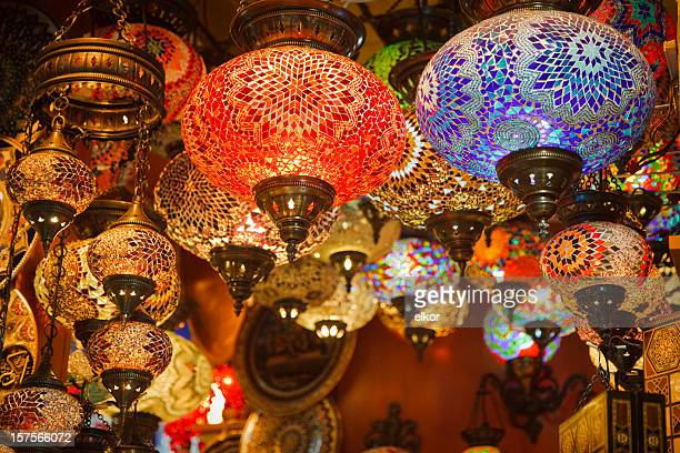 mosaic turkish laterns in grand bazaar, istanbul, turkey - fete stock photos and pictures