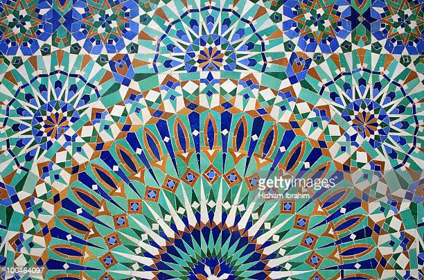 mosaic wall, hassan ii mosque-casablanca, morocco - moroccan culture stock photos and pictures