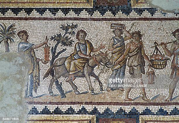 Mosaic with Dionysian scenes 3rd century AD in the triclinium of a Roman villa ancient city of Sepphoris Israel Detail