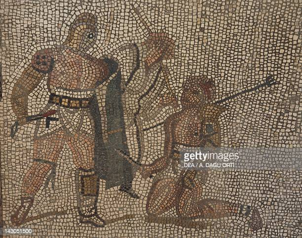 Mosaic with gladiator scene from the Roman Villa of Negrar Veneto Roman Civilization 1st Century Verona Museo Archeologico Del Teatro Romano